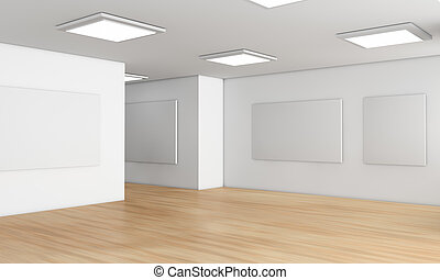 showroom - one showroom with a wooden floor and blank panels...