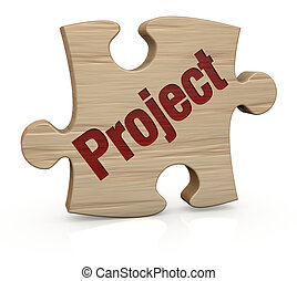 project concept - one wooden puzzle piece with the word:...