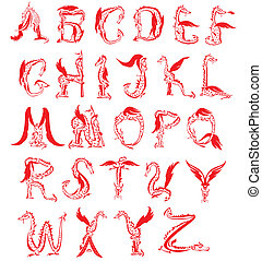 dragon alphabet,fantasy dragon font - dragon alphabet,...