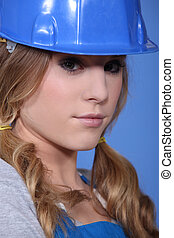 Close-up shot of an attractive tradeswoman
