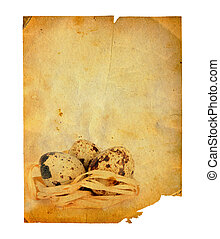 Grunge carved postcard with eggs to celebrate Easter on the...