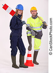 A couple of road workers
