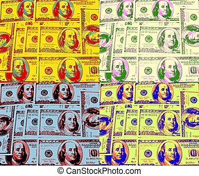 Pop Art Money - hundred dollar bills in a pop art fashion