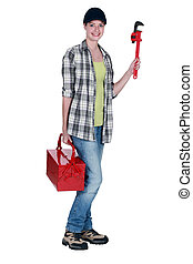Woman with a toolbox
