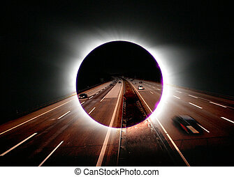 solar eclipse - A solar eclipse with a freeway