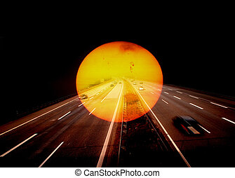 sunset - A sunset with a freeway