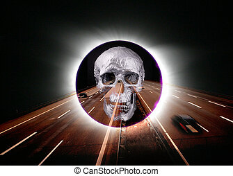 solar eclipse - A solar eclipse with a freeway and sliver...