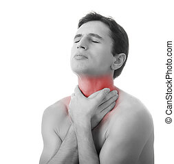 young man holding his throat in pain, isolated on white...