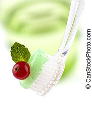 Toothbrush With Fresh Minty Toothpaste - Bristles of a...