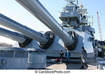 Battleship North Carolina - People touring the Battleship...