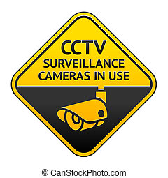 CCTV pictogram, video surveillance symbol - Warning Sticker...