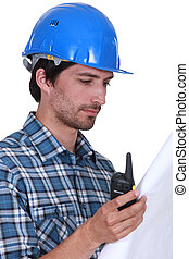 Contractor with radio receiver and plans