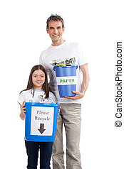 Father, Daughter Holding Recycle Bin