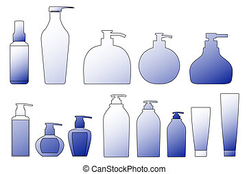 packing shampoo bottle outline silhouette