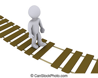 Person walking on damaged bridge - 3d person walking on a...
