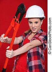 mujer, tenencia, perno, cortadores