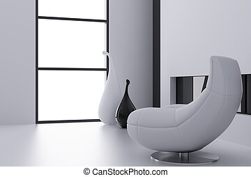 Light armchair and vases near a window in a modern interior