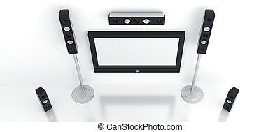 Modern home theater with the big plasma and high quality...