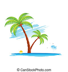 Palm Tree - illustration of palm tree in island on abstract...