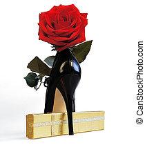 バラ, 黒, 靴, 背景, 白, 赤