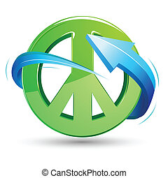 Peace Sign with Arrow - illustration of peace sign with...