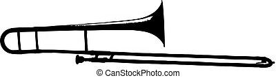 trombone silhouette - isolated vector illustration