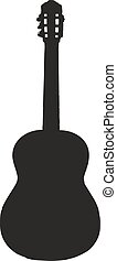 classic guitar silhouette - isolated vector illustration