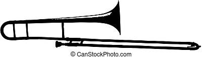 trombone -  - isolated vector illustration