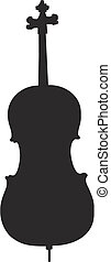 cello silhouette - isolated vector illustration
