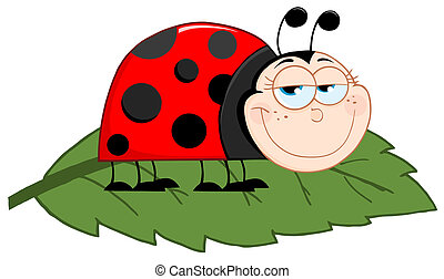 Happy Ladybug On A Leaf Cartoon Character