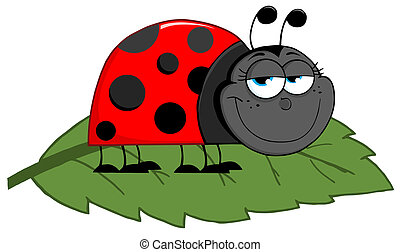 Ladybug On A Leaf - Happy Cartoon Ladybug On A Leaf