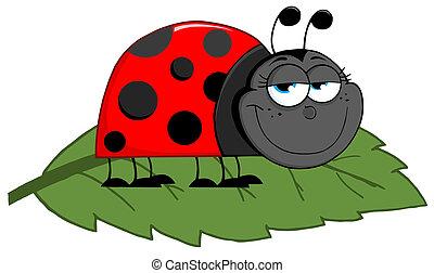 Ladybug On A Leaf - Happy Cartoon Ladybug On A Leaf