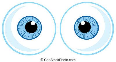 dos, azul, ojo, pelotas