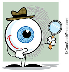 Detective Eyeball Holding A Magnifying Glass