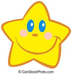 lycklig, litet, stjärna