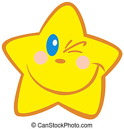 Happy Little Star Winking Cartoon Character