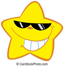 Happy Little Star With Sunglasses Cartoon Character
