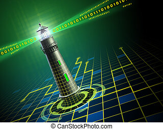 Lighthouse in cyberspace - Lighthouse emerging from a...