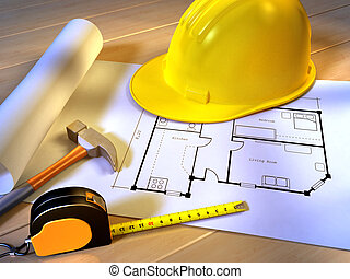 Home planning - A project for a new house with an hammer, a...