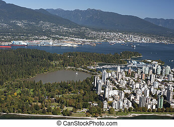Vancouver Aerial - West End and Coast Mountains - Vancouver...