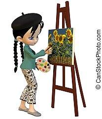 Cute Toon Artist Girl - Cute toon artist girl with pigtails...