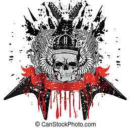 skull with guitars - Vector design for T-short skull with...