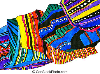 Peruvian woven bags - Watercolor illustration of Peruvian...