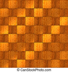 Inlaid Wood Checkerboard Floor Seamless - Birdseye view of a...