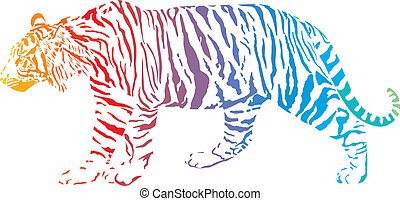 Tiger - vector abstract rainbow - Tiger with rainbow...