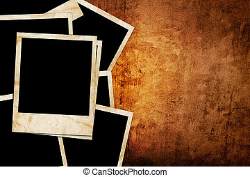 Blank photo frame on the grunge background