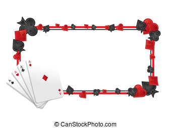 Poker frame - Frame with four colours and four aces