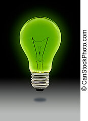 green light blub with clipping path