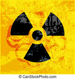 radioactivity symbol on  grungy background