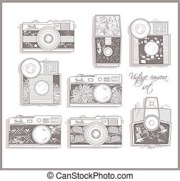 Retro photo cameras set. Vector illustration. Vintage...